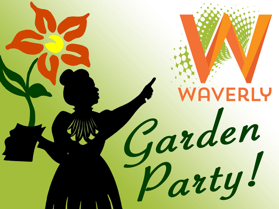 Designed in Illustrator for Waverly Main Street. Utilizing their logo and a photograph I took of one of the sculptures in their garden